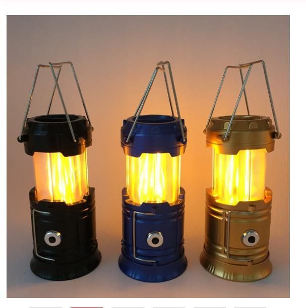 Taşınabilir Güneş Kamp Çadırı Işık Alev Lambası Fener Fener Çekilebilir Acil Kamp Işık Lantern aydınlatma