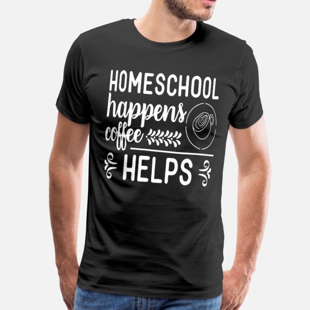 Homeschool geschieht Kaffee hilft T-Shirt Männer-T-Shirt loser runden Kragen-Freizeit-lose neue Art-Frühling Natur