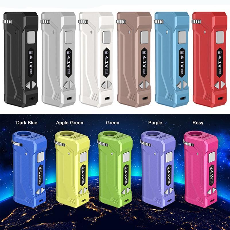Otantik Yocan Uni Pro Kutusu Mod E-Sigara Kitleri 650 mAh Preheat VV Değişken Gerilim OLED Ekran Pil 510 Kalın Yağ Odası için