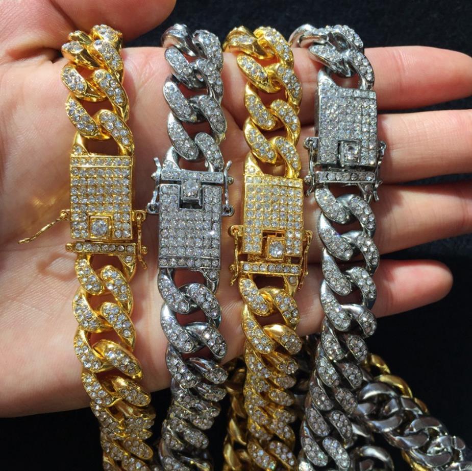 Erkekler Hip hop buzlu Out Bling Tam açacağı rhinstones zincir kolye moda CZ Miami Küba zincirlerinin kolyeler Hiphop takı