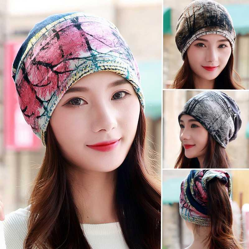 LongKeeper Fashion Women Beanies Hat Polyester Adult Casual Floral Tree Ladies Spring Autumn Hats Two Used Female Scarf 3 Colors