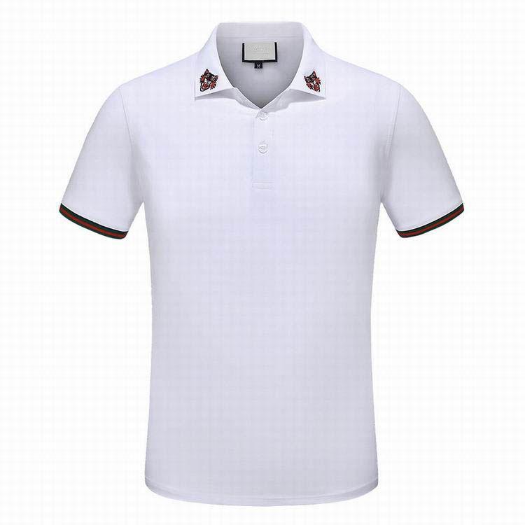 Sıcak satış lüks moda klasik erkek Kaplan nakış gömlek pamuklu erkek tasarımcı tişört siyah beyaz tasarımcı polo gömlek erkek M-3X çizgili