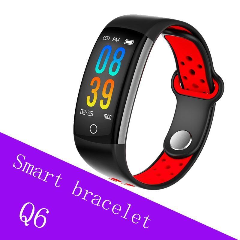 cgjxs Smart-Armband Q6 Bluetooth Smartwatch Männer Herzfrequenz-Blutdruck-Monitor-Sport-Uhr Fitness Tracker für Smartphones