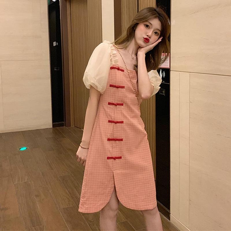 Jupe sn585 cheongsam nouveau filles manches col carré bulle d'été plaid style chinois amélioré robe des femmes Cheongsam d'été 2020 robe