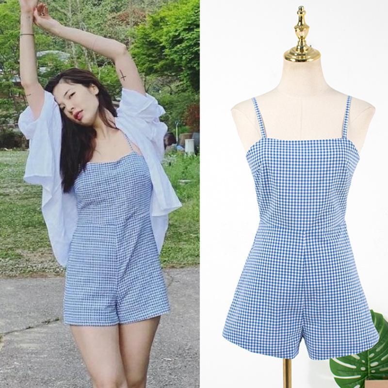 Tute da donna KPOP 4minute Kim Hyun A Estate Moda Blu Blue Plaid Sling Sling Lace-up tuta + Bianco Shirt cardigan sciolto Top Due donne Torta