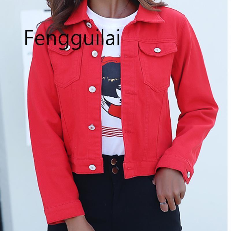 Джинсы куртки и пальто для женщин 2020 Осень Candy Цвет Повседневный короткие джинсовые куртки Chaqueta Mujer Casaco Jaqueta Feminina