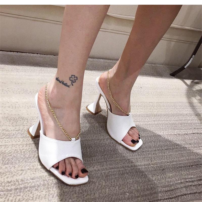 2020 Sexy PU padrão de cabeça PU Praça Peep Toe High Heel Slippers Summer Fashion mocassim Saltos finos Slides Mulheres mulas