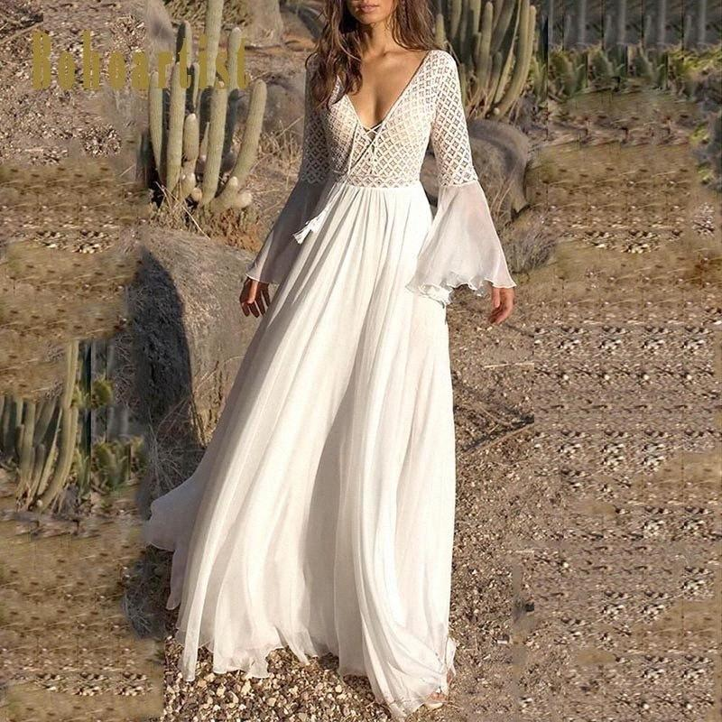 Bohoartist femmes Robe sexy long Flare manches col V blanc Parti creux Boho dentelle Maxi robe Chic Summer Holiday Femme Robes Y20010 6LFo #