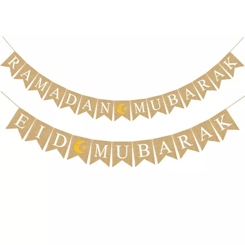 Eid Mubarak Bannière Ramadan Kareem musulmans Décorations Linen Hanging Drapeau Cordes Islam Home Decor Party Supplies