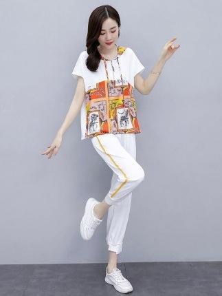 Sport vestito casual per le donne 2020 estate di grandi dimensioni pantaloni in stile occidentale di moda nuova stampata e pantaloni eleganti pantaloni alla caviglia due