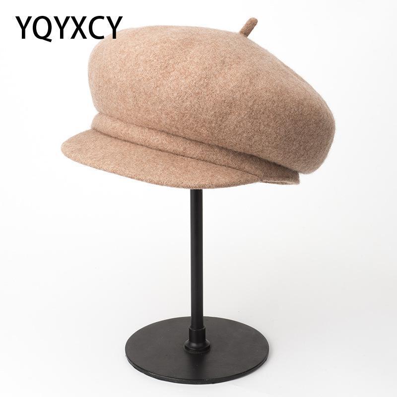 Yün Bere Sonbahar Kış Bayan Şapka Vintage Bonnet Kalın Sıcak Ressam Cap Gorras Moda Şapka Kadın 2020 Yeni Yüksek Kalite