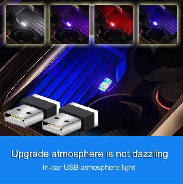 نيون USB ضوء LED الضوء النمذجة الغلاف الجوي المحيط مصباح السيارة المحمولة الخفيفة الداخلية 7 ألوان زينة السيارات