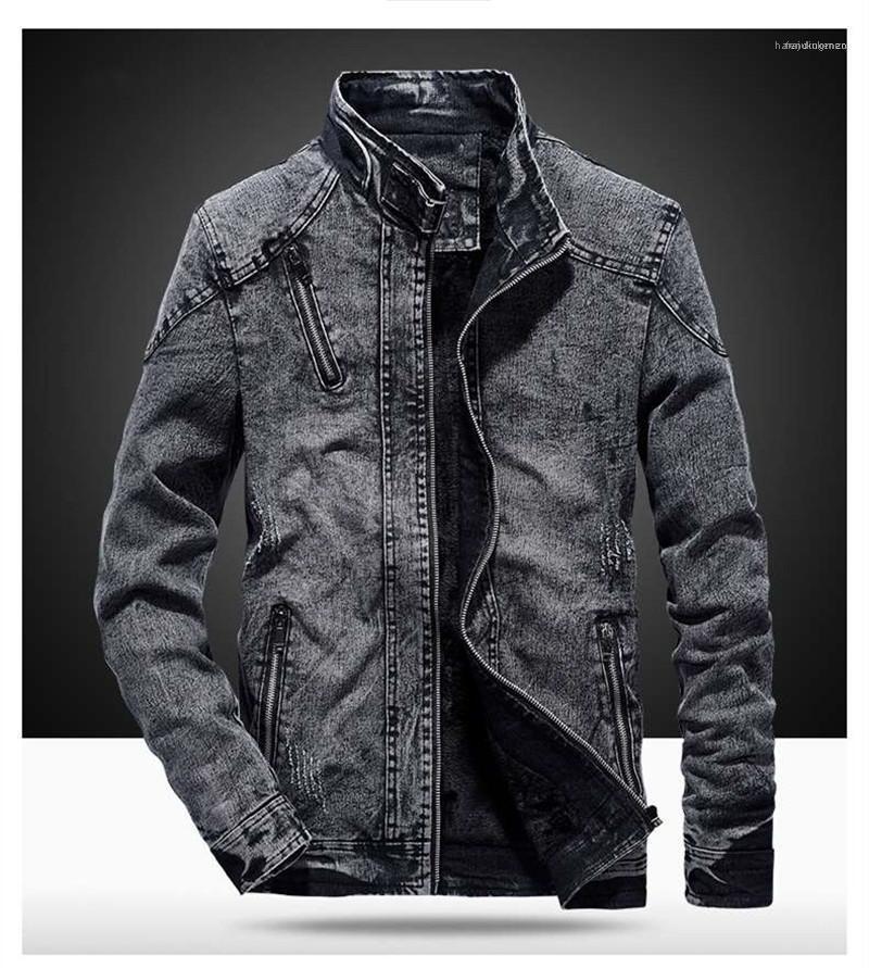 Spesso Slim cappotto Mens Plus Size Zipper Cappotti Designer Mens Giacca di jeans Moda inverno