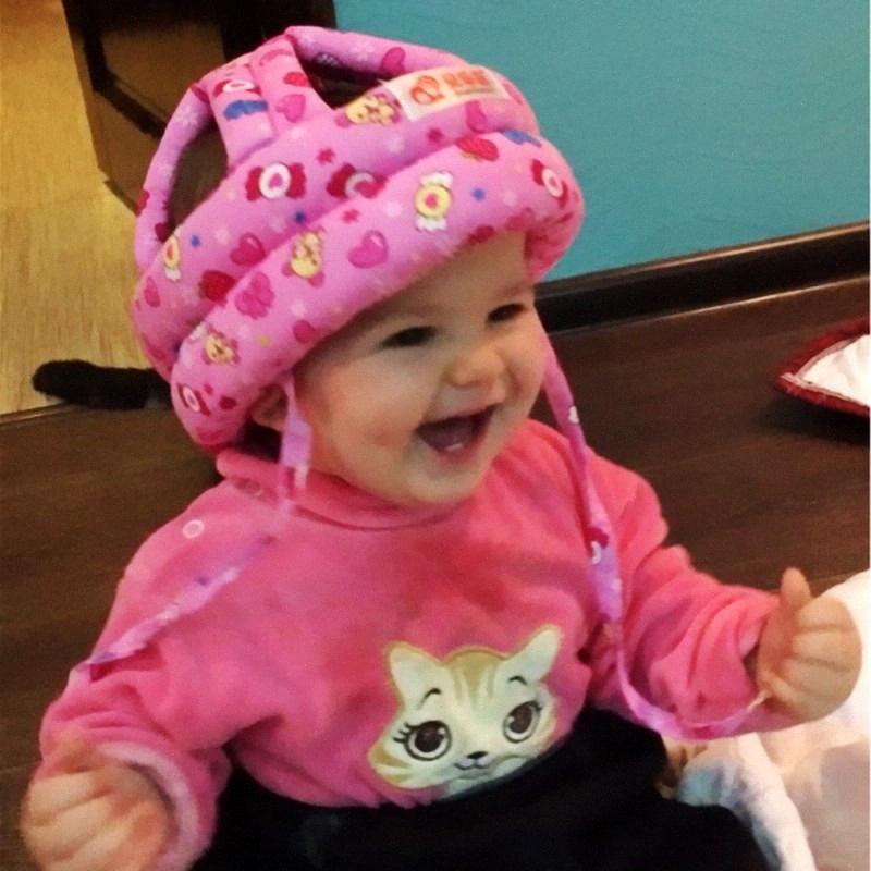 Bebê da criança anti-colisão do bebê Capacete de Segurança macio e confortável Proteção Segurança de cabeça ajustável de Verão malha Crianças Cap f2nK #