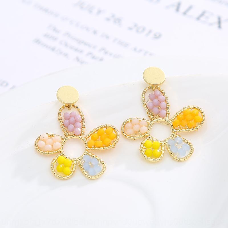 pendientes de perlas de plata estilo de la aguja y el verano nueva pendientes de la flor del color de las mujeres de la perla decorativa coreana NNZpz