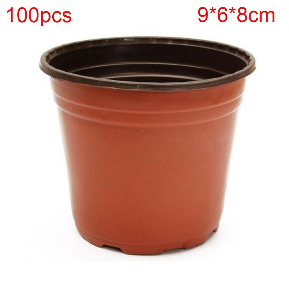 100pcs Jardinage grande capacité Flowerpot extérieure Nursery Anti vieillissement Couleur double