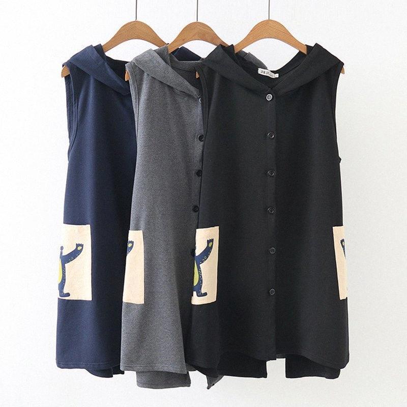 2018 Autumn tamanho grande de Long Veste Femme Kawaii Mulheres Impresso dos desenhos animados Vest com capuz Casual Colete Para Mulheres mangas Jacket idRR #