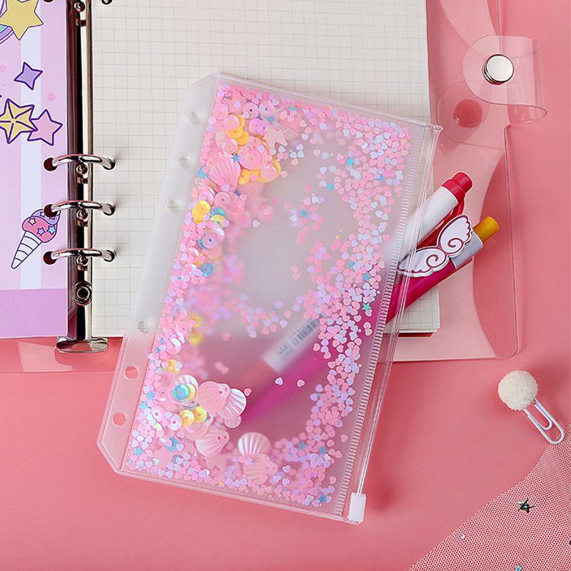 6 개 홀 반짝이 플라스틱 바인더 크리 에이 티브 A6 PVC 노트북 포켓 플레이크에 BULT-6 개 링 느슨한 잎 가방 수첩 지퍼 봉투 포켓