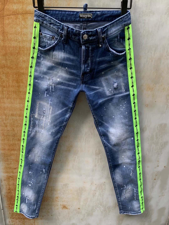 DSQ Jeans Mens de luxe Designer Jeans Skinny déchiré Guy Cool Causal Hole Denim Fashion Marque Fit Jeans Hommes lavés Pantalons 61284