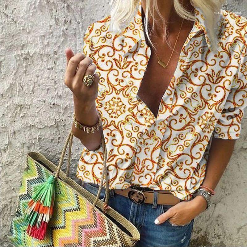Sonbahar Kadın Tasarımcı Çiçek Gömlek Uzun Kollu Yaka Bluz Baskılı Standı Yaka Üst Giyim Bayan Kış Sonbahar Giyim