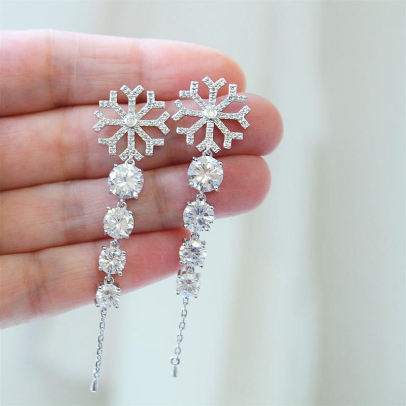 Orecchini pensili Junerain nuovissimo moda per le donne di colore argento ciondola gli orecchini del fiocco di neve di cristallo zircone sposa orecchino di goccia Gioielli