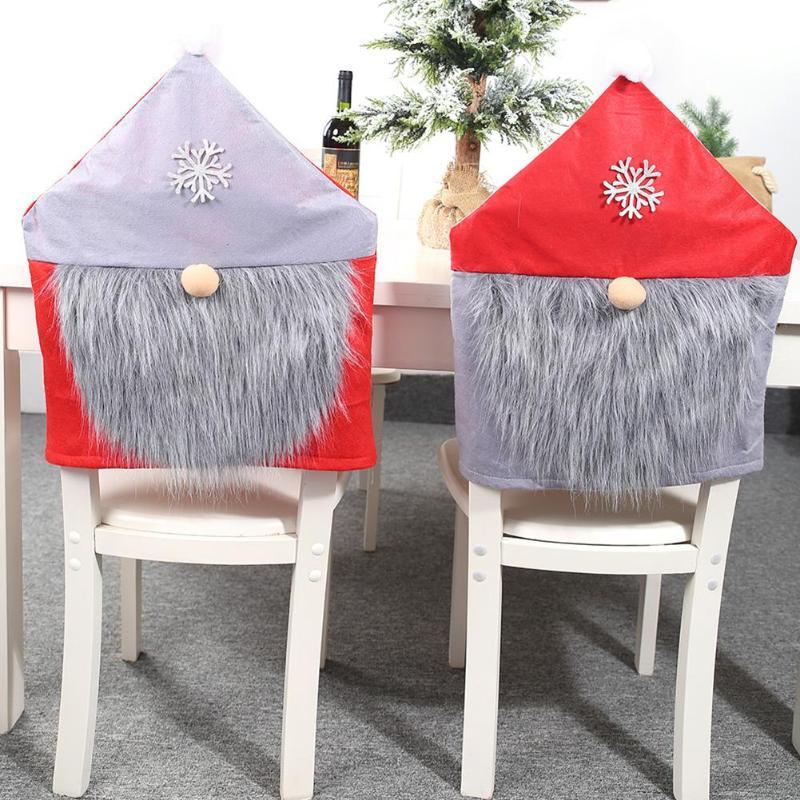 Christmas Nonwoven Chair Back Cover Red Gray Hat Chair Back Dining Cover Xmas Home Hotel New Year Party Decoration 2020
