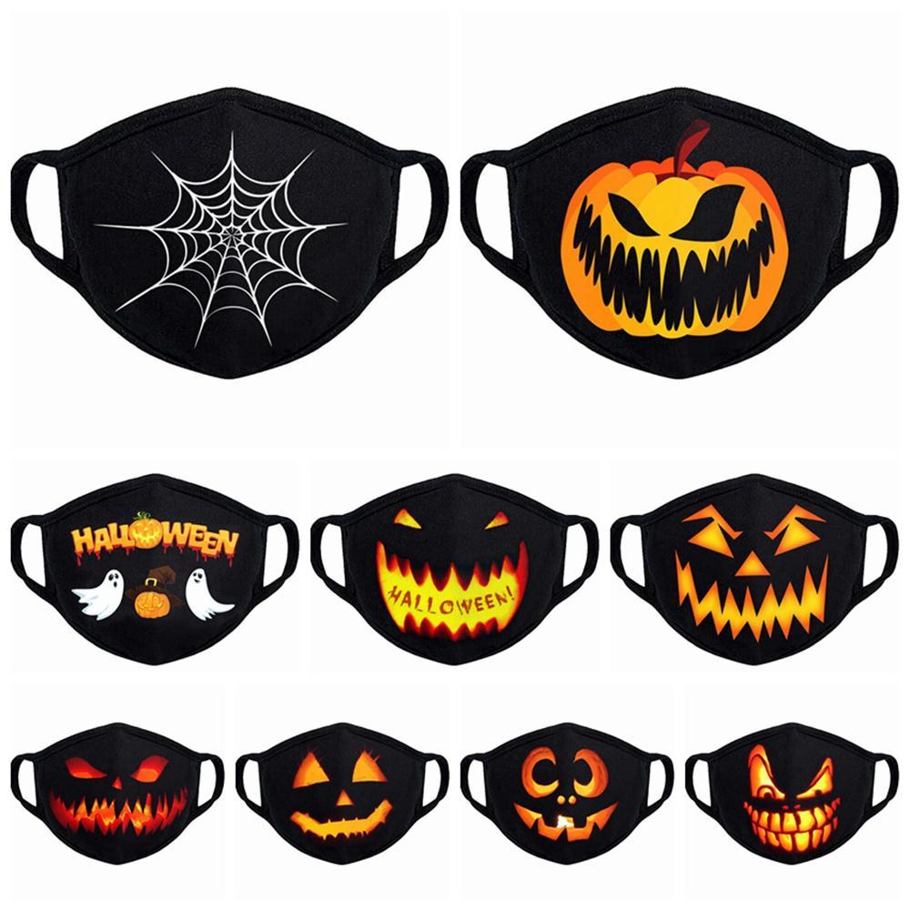 10 styles de citrouille de Halloween 3D imprimé masque facial Crâne de protection Oreille-boucle Masques Lavable Party Réutilisable respirante bouche Couverture LJJP309