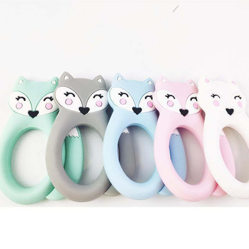 Grand Fox silicone Teether Teething Jouets d'enfants BPA Safe silicone souple animaux Chew Perles Sucettes Soins infirmiers bébé jouets de dentition