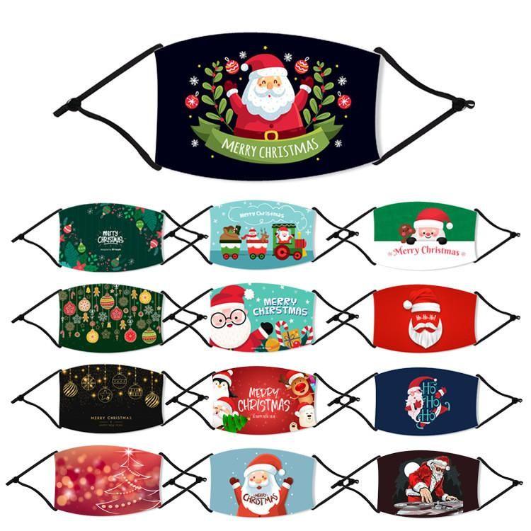 أقنعة الولايات المتحدة القطن المالية مطبوعة سانتا كلوز عيد ميلاد سعيد عيد الميلاد الوجه أقنعة الغبار مضاد الفم غطاء قابل للغسل قابلة لإعادة الاستخدام وتصفية أقنعة حزب