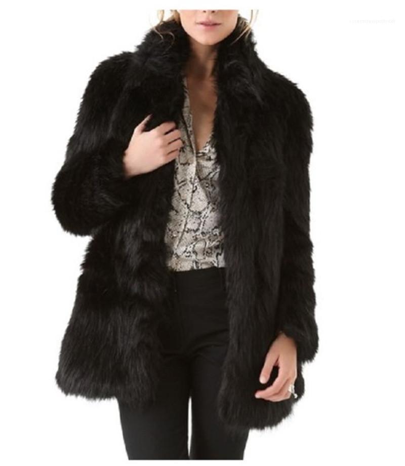 Kış Kürk Palto Standı Yaka Kalın Sıcak Ceket Kaban Bayan Açık Dikiş Dış Giyim Tasarımcı Patchwork Katı Renk