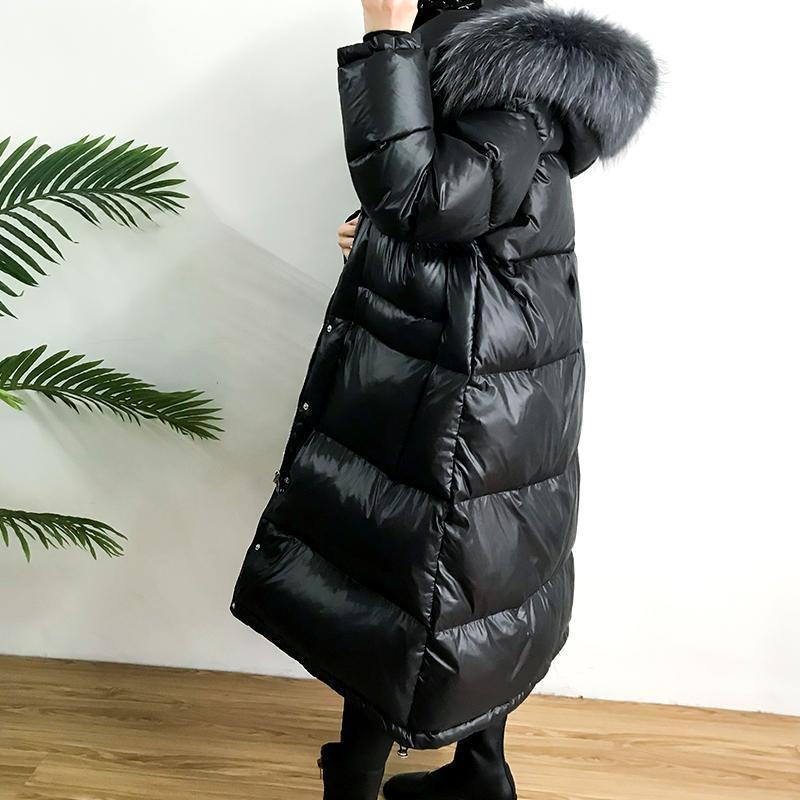 Real Natural Енот меховым воротником 2019 Белая утка вниз куртка Новая зимняя куртка женщин вниз пальто для женщин Длинные свободные Теплый Вниз Parka T200905