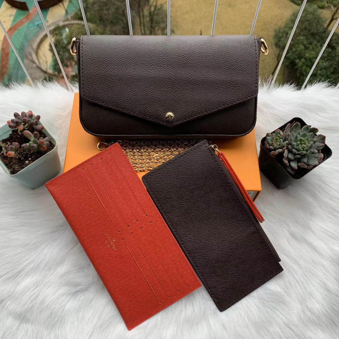 Lo nuevo bolsas de mujer mujeres de la manera bolsas de hombro de alta calidad de la cadena bolsas de tamaño 21/11/2 Cm Modelo 61276 con la caja Bolsa para polvo