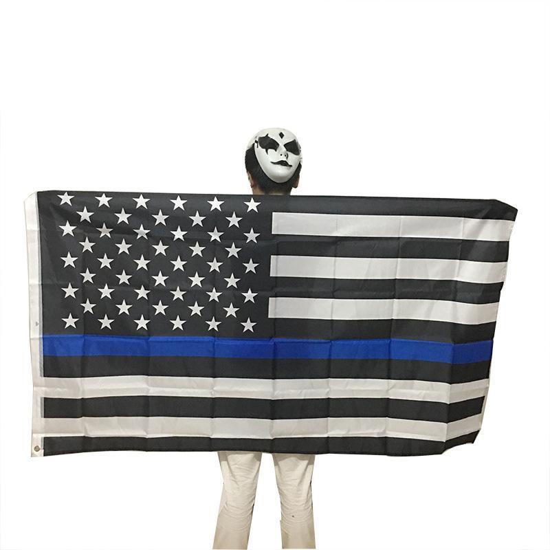 90 * 150cm Banderas BlueLine EE.UU. Policía 3x5 pies Thin Blue Line EE.UU. Bandera Negro blanco y azul americano con ojales de latón DBC BH2686