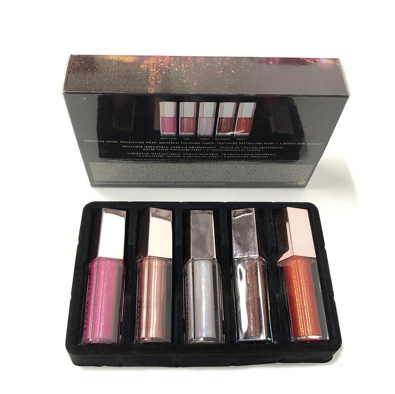 New Christmas Lip Gloss Set Mini Diamond Lip Glaze Lip Gloss 5 Pz Gloss Bomb Raccolta festiva spedizione gratuita