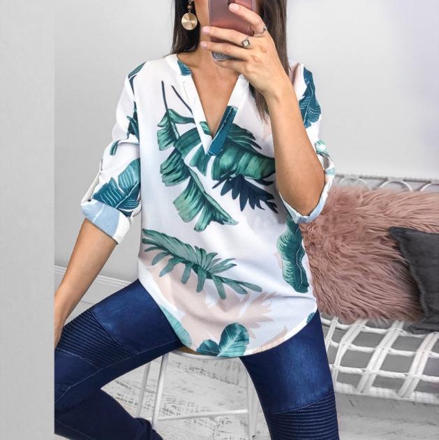 xE7QI la parte superior de la hoja impresa V-cuello irregular atractiva camiseta top de la camisa de flores de la Mujer 2020 ()