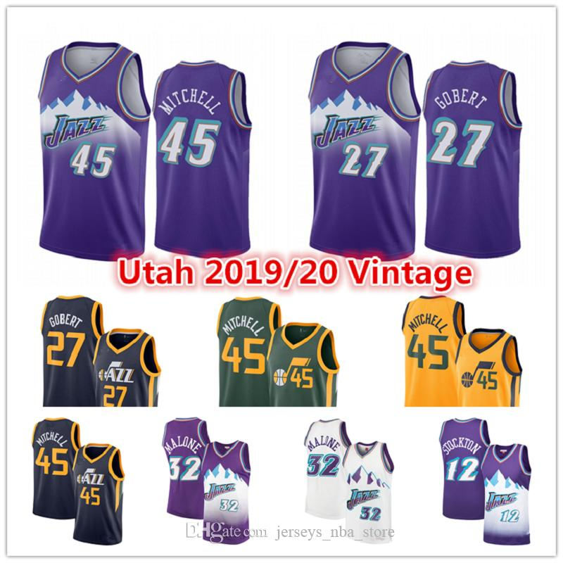 Donovan 45 MitchellUtahEdición jerseys del baloncesto de jazz Jersey Mike Conley 10 Juan 12 Stockton Rudy Gobert 27 Karl Malone Ciudad de Oro
