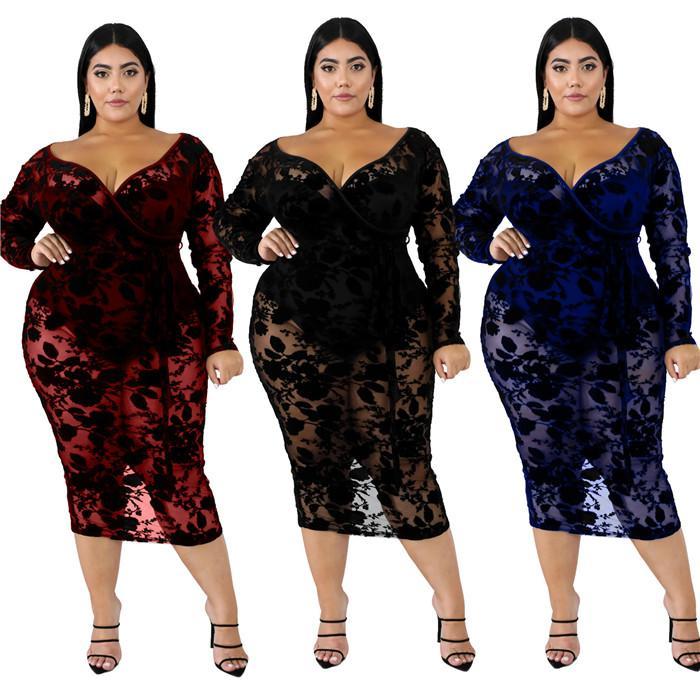 Más el tamaño de vestidos de encaje atractiva de las mujeres con cuello en V ver a través de la ropa de moda delgada de las mujeres de manga larga vestidos bodycon XL-6XL
