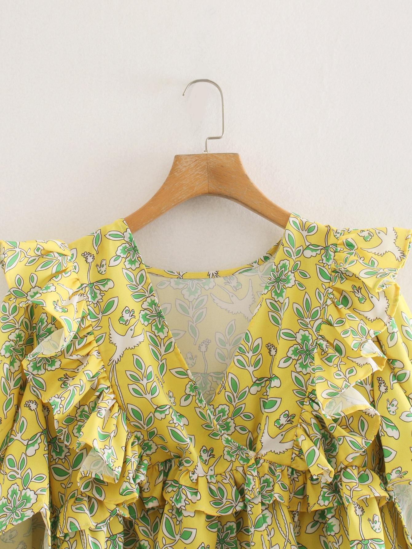 IV9jF PCvyf M7732-Ветер женщины 2020 для рубашки лето новый V-образным вырезом воланами зеленый цветок напечатаны рубашки носить женские