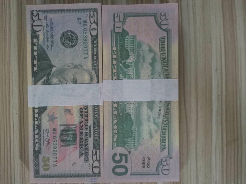US AMERICA Faux Money Billets d'argent Dollars 50 dollars pour la décoration de la maison pour l'apprentissage des enfants