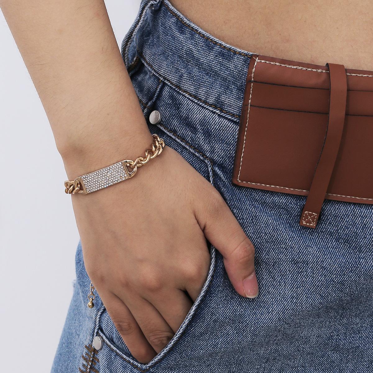 Женщины моды браслеты Rhinestone Алмазы Минимализм Vintage Punk Толстые цепи кулон звено цепи браслет шарма Ювелирные подарки аксессуары