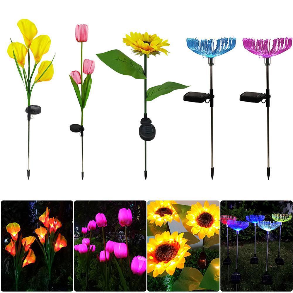 2pcs Garden Outdoor Lawn Lighting colorido Lâmpada da flor Solar LED Luz Solar Bollard luz LED solares vara Luzes