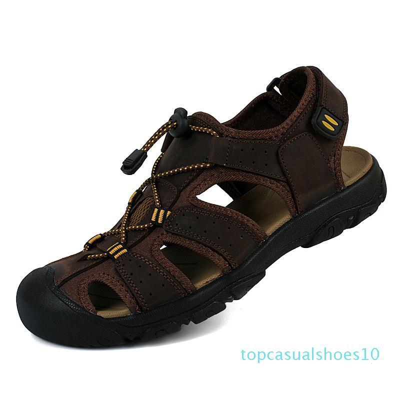 Мужские кожаные сандалии дышащий лето для мужской пляж плоский +2017 обуви на открытом воздухе Sandale человек большой размер Zapatos Hombre обувь t10