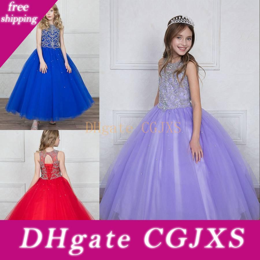 Принцесса девушки Pageant платья для детей бальное платье свадебное платье Rhinestone Кристалл Sheer шеи Кружева -До Назад Тюль Puffy Luxury одевают