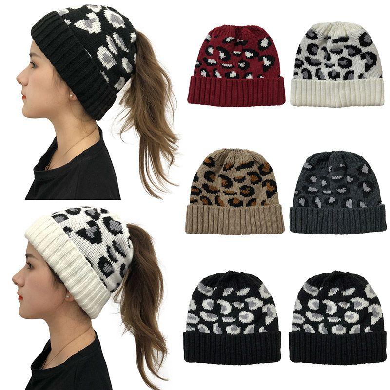 여성 여성 패션 페이즐리 겨울 포니 테일 캡 Skullies 캐주얼 야외 비니 모자 2020 여성 겨울 따뜻한 울 니트 모자