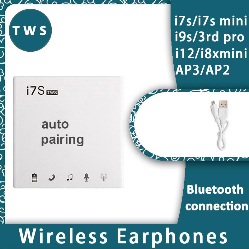 I7 i7s TWS التوائم لاسلكية صغيرة بلوتوث V5.0 سماعة ستيريو الموسيقى شاحن سماعات الأذنين لiPhone11 الموالية i7 من i8x