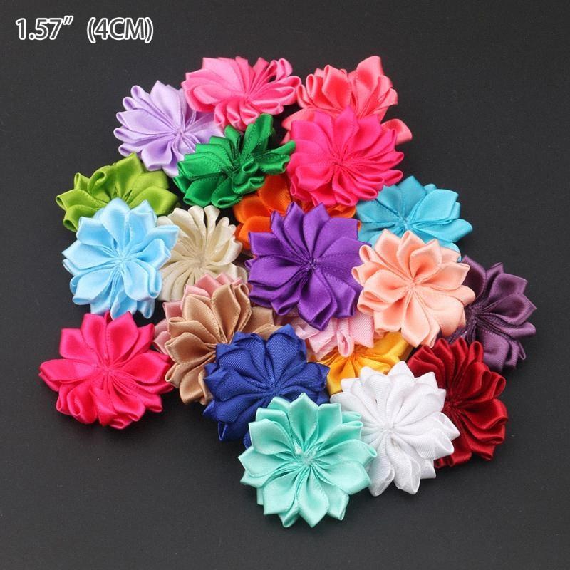 """50PCS / LOT 1.6"""" Rosette Satin-Band-Blumen mit Perlen-Knopf benutzt für DIY Stirnband Clips Stirnband-Haar-Zusätze xDXs #"""