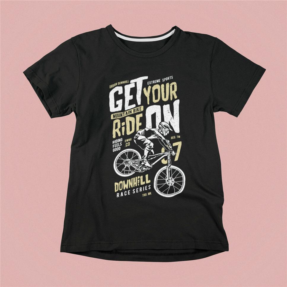 Nuovo Get maglietta di formato S-3XL del regalo di compleanno Tee Shirt tuo Ride On Uomo Nero Downhil
