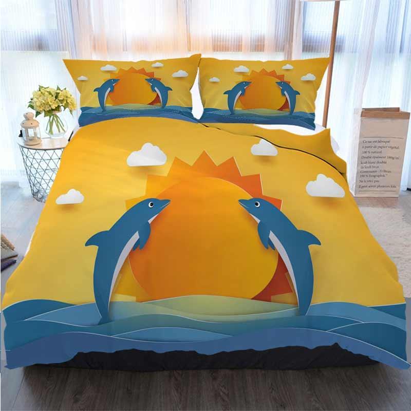 Frohe Weihnachten Bettbezug-Set Sommerzeit Glückliche Delphine springend in Meer Wellen Quilt Bettwäsche Tröster Bettwäsche-Sets