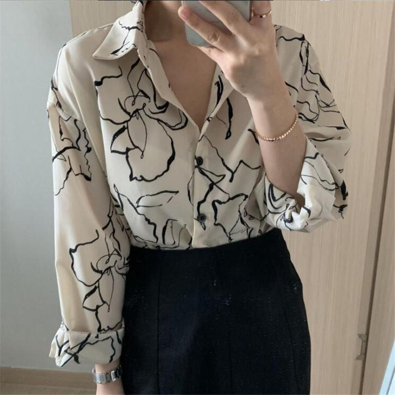 2020 Printemps Nouvelle-coréen chic littéraire esquisse fleur chemise minceur lâche tout match des femmes chemise à manches longues pT0CY