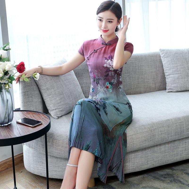 Gax8l ajuste vestido double 2020 alta melhorada amoreira vestido cheongsam rugas magro nova qualidade Primavera Silk Cheongsam Silk e verão